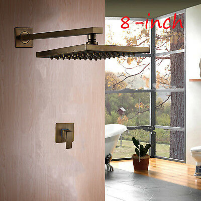 Rozin Wall Mount 8-inch Rainfall Shower Head + One Way Mixer Valve Antique Brass