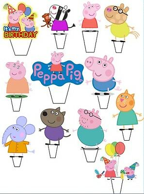 12 x   Peppa Pig & friends Birthday edible stand up cupcake toppers Pre Cut!