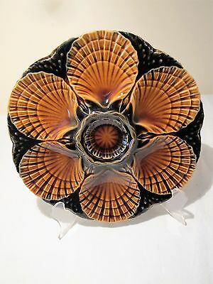 French Sarreguemines Majolica Oyster Plate