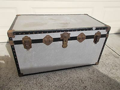 Vintage Sea Chest Trunk Travellers Coffee Table Toy Box Storage Box