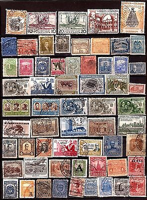 EP231 COLOMBIE 60 timbres, anciens avant 1960 ,personnages, emblemes