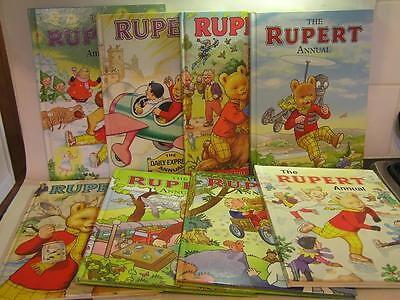8 Vintage Rupert the Bear Annuals 1980, 1983, 1986, 2002, 2005, 2012, 2013, 2014