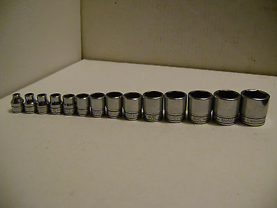 "Snap-On  3/8"" drive 6point 1/4""-1' shallow socket set 14 piece"