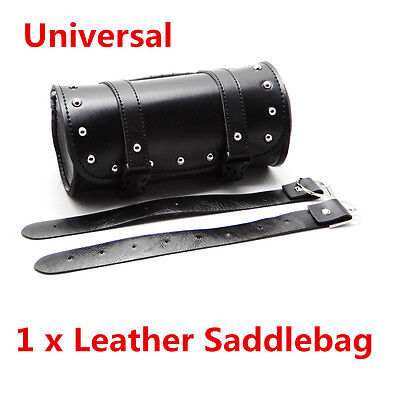 1Pcs PU Leather Motorcycle Tool Bag Luggage Handlebar Round Barrel Storage Pouch