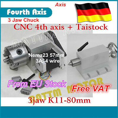 [DE ship] CNC Router Rotation Axis 4th Axis K11-80mm 3 Jaw Chuck 65mm tailstock
