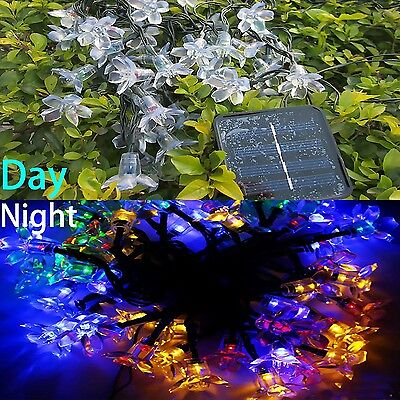 50LED Solar Powered Peach Blossom Decorative String Light Xmas Strips 7 models