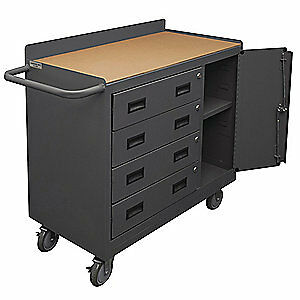 "GRAINGER APPROV Steel Mobile Service Bench,24"" L,4 Drawers, 2211A-TH-LU-95, Gray"