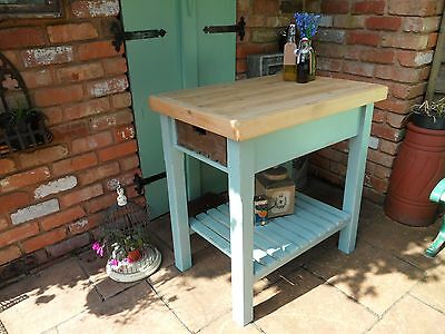 Stylish Painted French Country Style Butchers Block Kitchen Island Shabby Chic