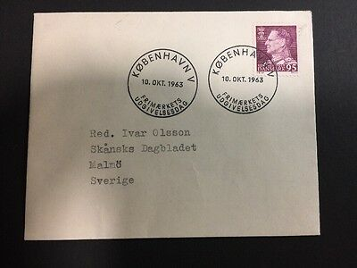 Denmark SC 394 - 95o Claret on Cover 1963. ONLY 99 CENTS!
