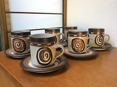 Set Of 6 Midcentury BRIGLIN Pottery Coffee Cups And Saucers.
