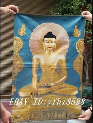 "36"" Tibet Buddhism Silk Cloth Golden Shakyamuni Buddha Thangka Embroidery Mural"