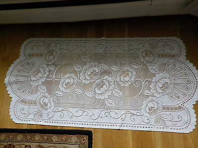 "Lace Table Runner Dresser Scarf Cream Polyester 51""x24"""