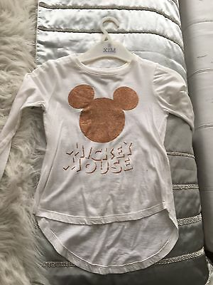 Cotton On Kids Girls Mickey Mouse Top  Bling Glitter Size 5