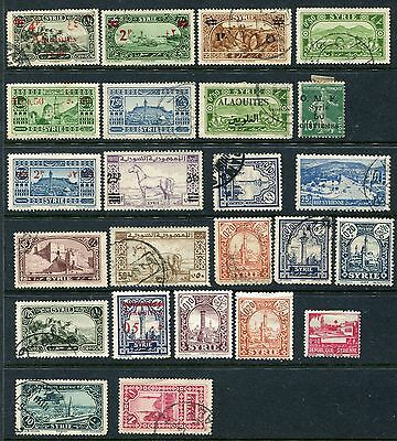 Syria, Alaouites 1929 4p red surcharged start, high cat, collection of 24 mh/u