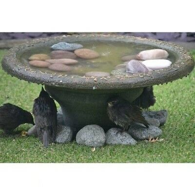 Bird Bath Station Stone Effect Water Bowl With Pebbles For Garden Patio Decor