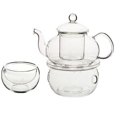 Set of Heat-resistant Glass Teapot with Strainer Flowers And Flower Tea B5F9