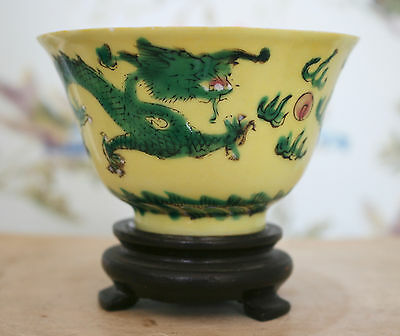 A Beautiful Antique Chinese Lemon Yellow Famille Verte Dragon Bowl, SIGNED