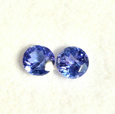 Certified Natural Tanzanite Round Cut 5.50 mm Pair 1.11 CTS Lustrous Loose Gemst