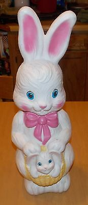 Blowmold Easter Rabbit Bunny with Baby Bunny Basket