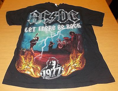 AC DC Let There Be Rock 1977 Black Tshirt Shirt Size Large L