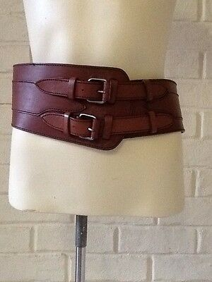 Country Road Brown Leather Wide Belt size M Length Of Belt 84cm