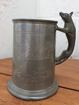 Vintage Pewter Hunting Tankard - made in Sheffield