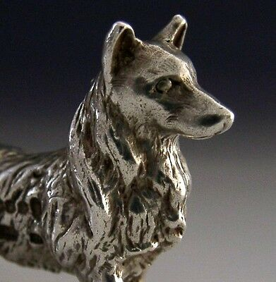 Nicely Modelled English Solid Sterling Silver Welsh Corgi Dog Figure 1977