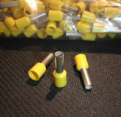 500Pc Wire Cord  End Ferrule Crimp Yellow 16 Awg# 1508