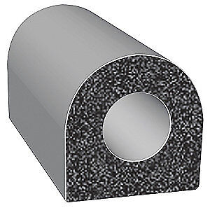 TRIM LOK INC EPDM Rubber Seal,D-Section,0.38 In W,100 Ft, X105BT-100