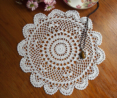 Vintage Style Chic Cotton Hand Crochet Lace Doily Doilies Round 30CM White