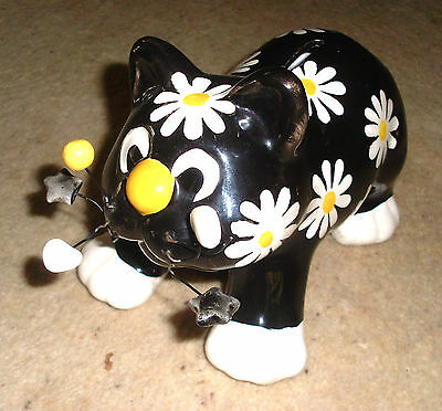 Beautiful Comical Black Cat Accented With Gorgeous Daisies Money Box Figurine