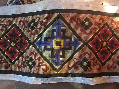 """ANTIQUE FRENCH LONG CROSS STITCH  LINEN  PANEL 135"""" x 7.8"""" TAPESTRY very long"""