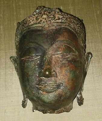Bronze 10th-14th century Thailand Buddha Head from a Temple custom framed.