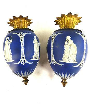 Pair Antique Jasperware Possibly Wedgwood Weights Rise & Fall Light