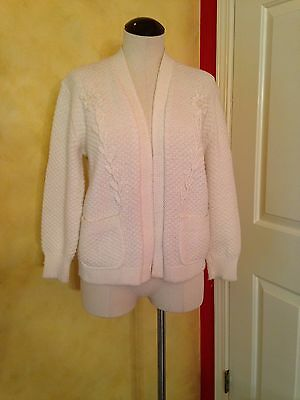 Vintage White M L Orlon Acrylic Cardigan Sweater White Knobby Knit Pearles CUTE!