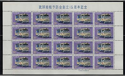 Ryukyu Islands 1966  Mobile TB Clinic  Mini Sheet with Inscription 20 Stamps MNH