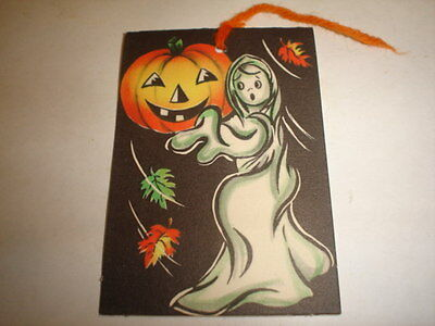 Old Vintage Halloween Cardboard Tally Card Ghost Jack Lantern Gibson Unused B
