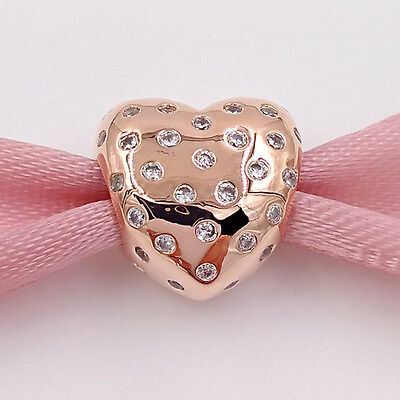 Genuine Rose Gold Shimmering Heart Charm S 925 +  Gift Pouch