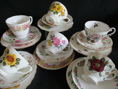 Vintage English china mismatched TRIOS cups, saucers, plates 6 pretty flowers