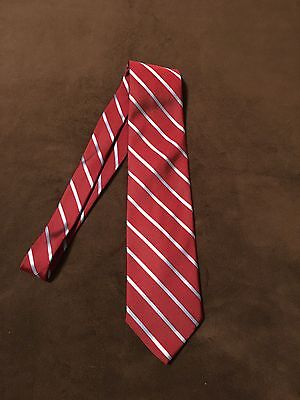 Brooks Brothers Makers All Silk Men's Tie Red with Blue Stripes