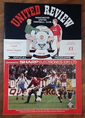 MANCHESTER UNITED 1991/1992 v Atletico Madrid EUROPEAN Cup W Cup R2 L2 DATE TYPO