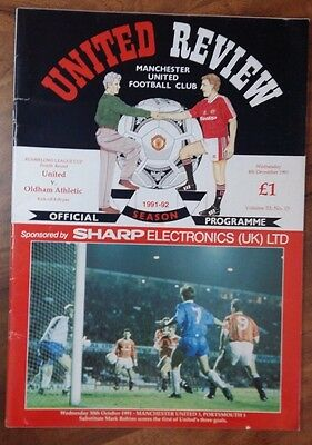 MANCHESTER UNITED 1991/1992 v Oldham Athletic RUMBELOWS Cup Fourth Round HOME