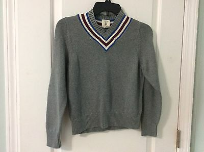 Lands End Kids Boys Sweater Gray V-neck Pullover Size 8 EUC 100% Cotton
