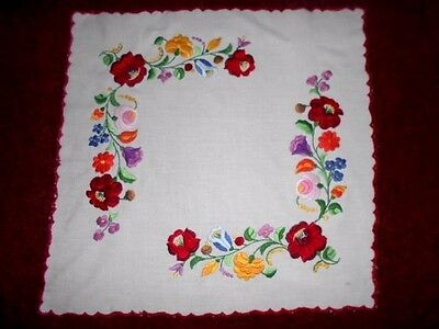 Large richly embroidered DOILY small tablecloth 55cm square white cotton &floral