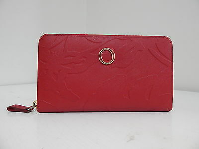 OROTON Large RED Genuine Leather Zip Around Wallet Purse Clutch VG+