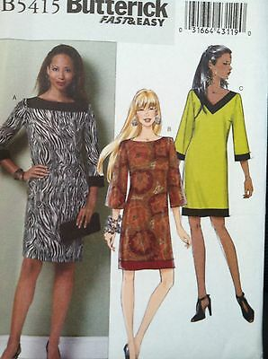 Butterick Sewing Pattern 5415 Fast Easy Ladies Dresses Sizes L XL XXL (16-26)