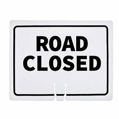"RK Traffic Cone Sign 14 ""Road Closed"", 18"" Width x 14"" Height, Black on White"