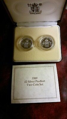 1989 Silver Piedfort Bill/Claim Of Rights £2, 2 coin Set. COA