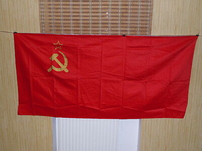 "1986 Soviet russian 160*80cm 62""*31"" Big State Red Banner Flag USSR Lenin 2"
