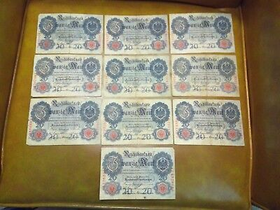 Imperial German banknote lot 20 marks 1914 x10 notes LAST LOT